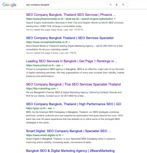 example SEO rankings bangkok