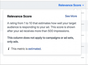 FB Ad relevance score