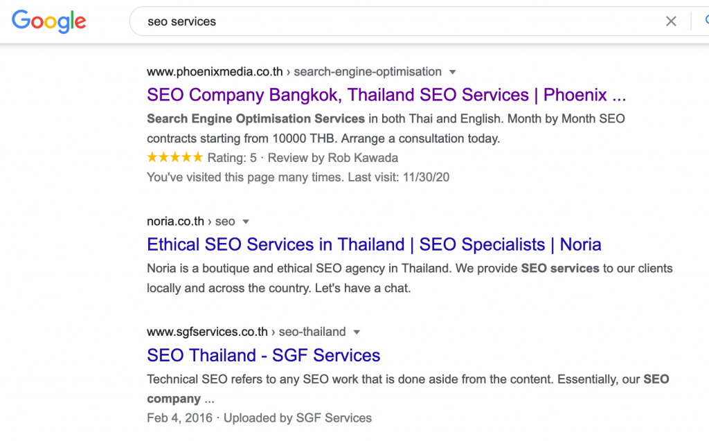 Competitor serp